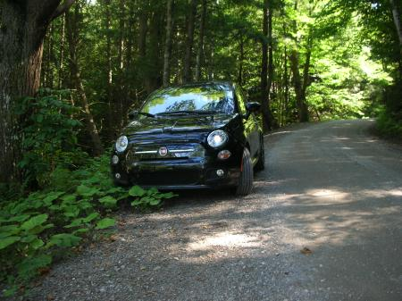 Fiat 500 sport on Nutting Rd., Montgomery Center, VT