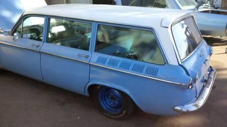 1961 Chevrolet Corvair Lakewood blue left rear