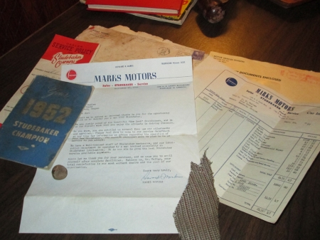 1952 Studebaker Champion documentation
