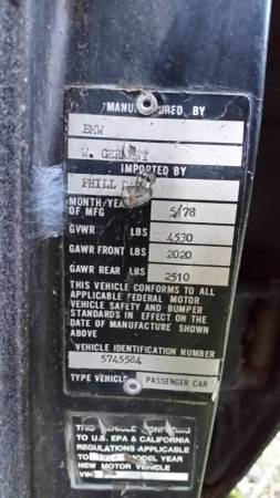 1978 BMW 733 data plate